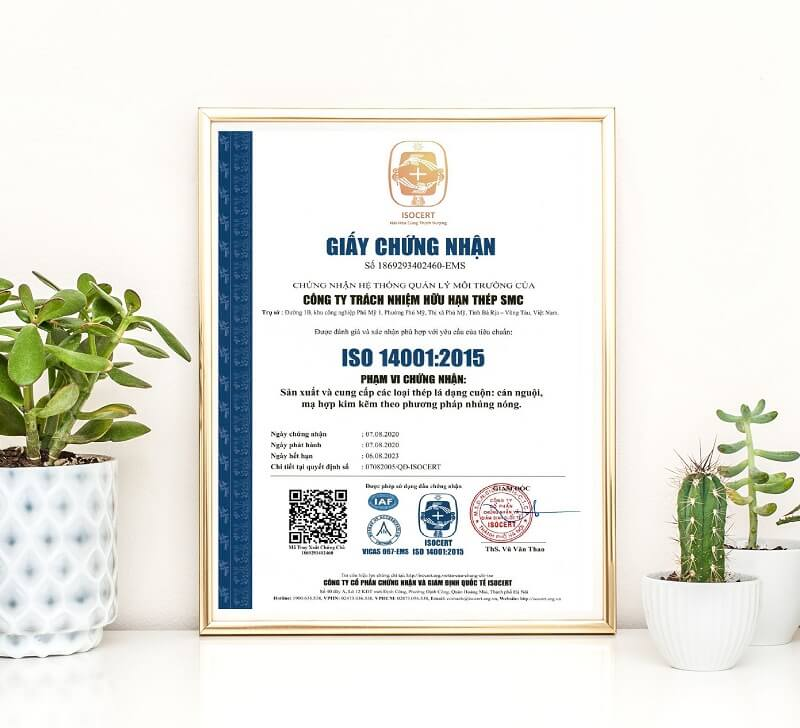 Mẫu chứng nhận ISO 14001 phiên bản 2015 cho môi trường