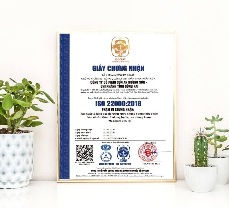 mẫu giấy chứng nhận iso 22000 cho doanh nghiệp