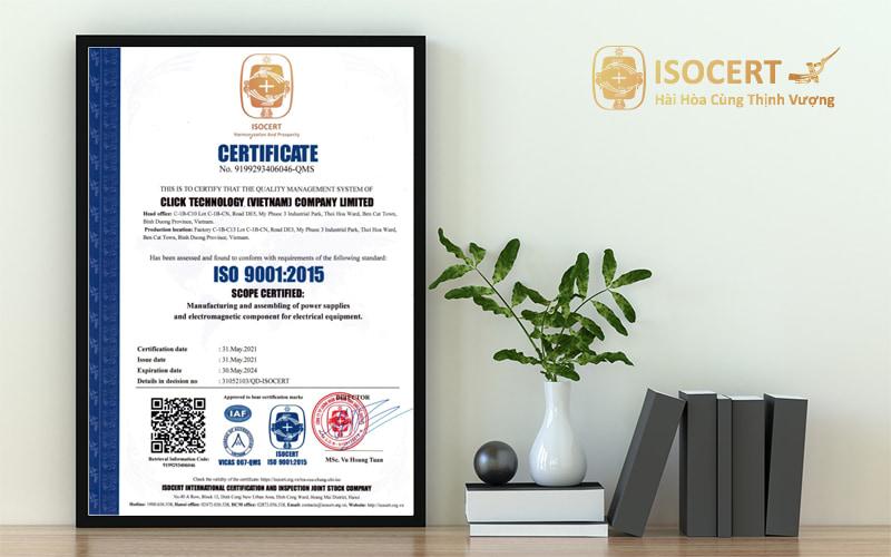 Chứng nhận ISO 9001 năm 2015