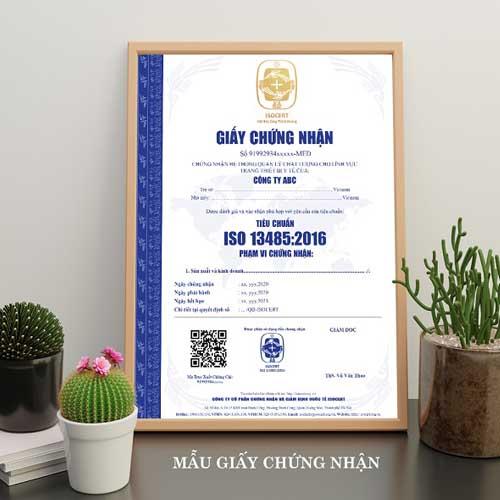giấy chứng nhận ISO 13485