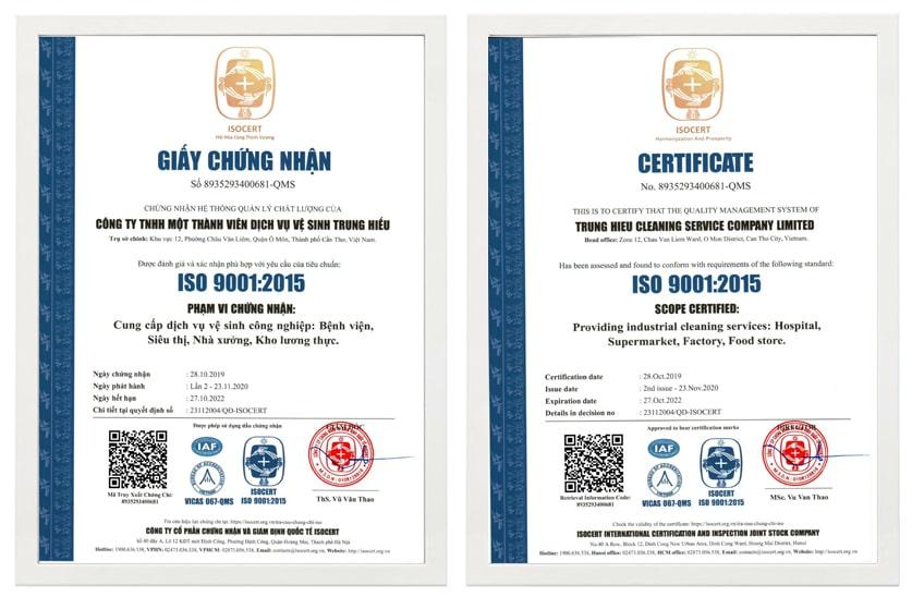 mẫu chứng chỉ ISO 9001